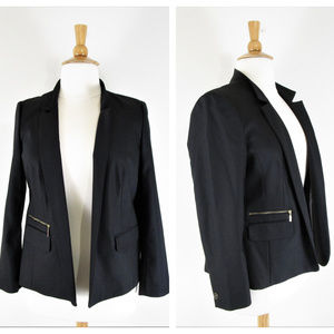 Chicos Solid Black Open Front Blazer Suit Jacket